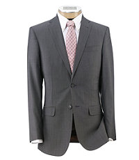Joseph Slim Fit 2-Button Suits with Plain Front Trousers- Grey/Black Mini Herringbone
