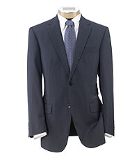 Traveler Tailored Fit 2-Button Suit Plain Front- Navy Checkered Blue Deco