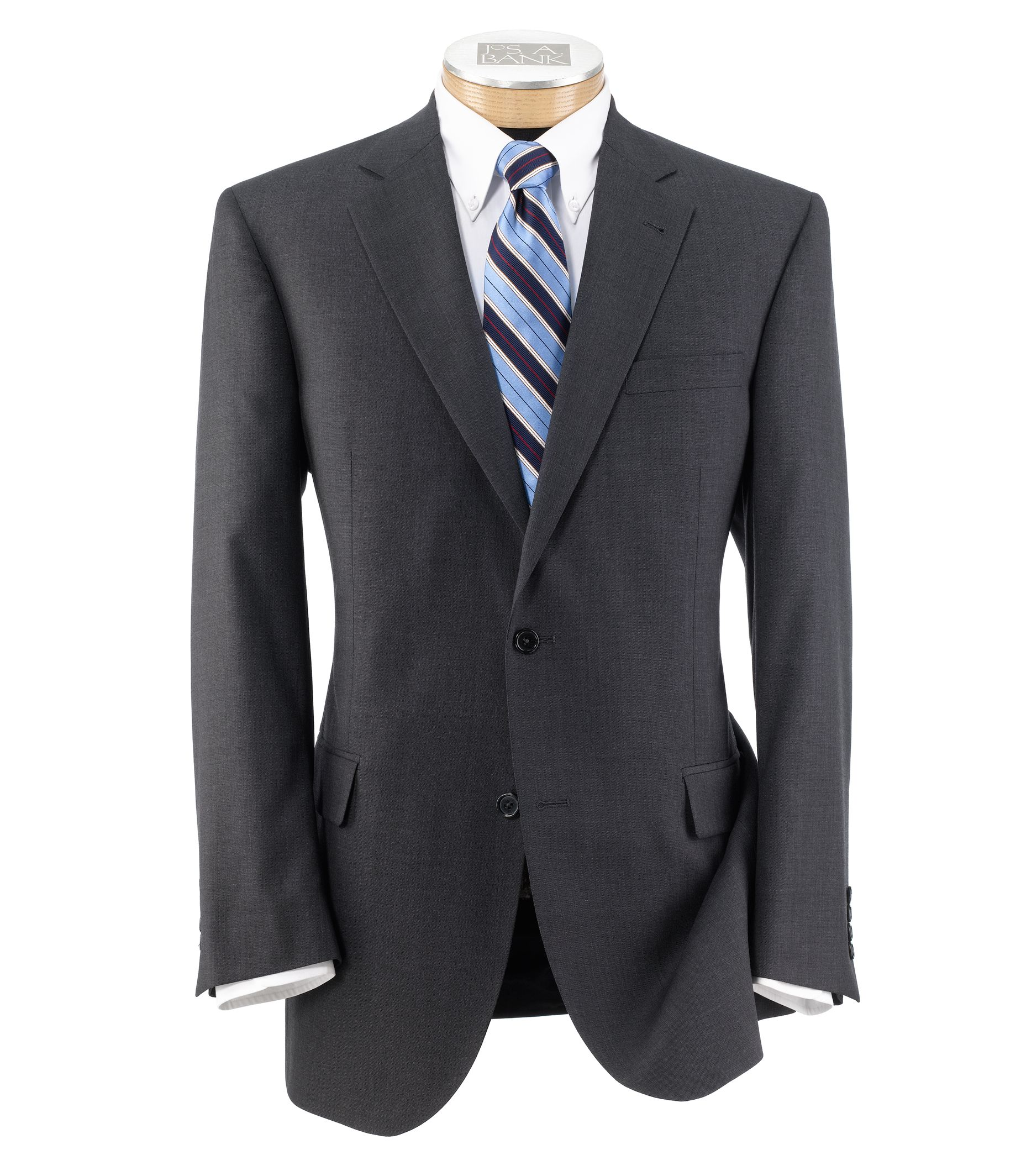 Signature Imperial Wool/Silk Suit with Plain Front Trousers Extended Sizes- Grey
