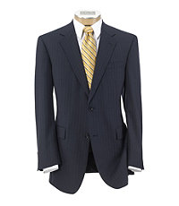 Executive 2-Button Wool Suit with Plain Front Trousers - Blue Stripe