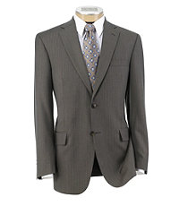 Traveler Tailored Fit 2-Button Suits Plain Front- Taupe White, Light Blue White