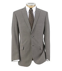 Joseph Slim Fit 2-Button Suits with Plain Front Trousers- Taupe Stripe