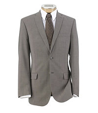 Joseph Slim Fit 2-Button Suits with Plain Front Trousers Extended Sizes- Taupe Stripe