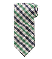 "Executive Cream Plaid 61"" Long Tie"