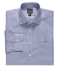 Traveler Spread Collar Stripe Dress Shirt Big and Tall Sizes