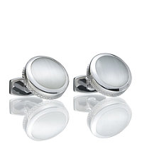 Cat Eye Round with Mesh on Side Cufflink