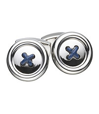 Silver and Blue Button Cufflink.