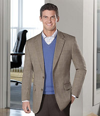 Executive Wool 2-Button Pattern Sportcoat Portly