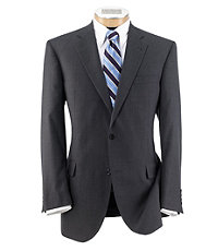 Signature Imperial Wool/Silk Suit with Plain Front Trousers- Grey Nailhead