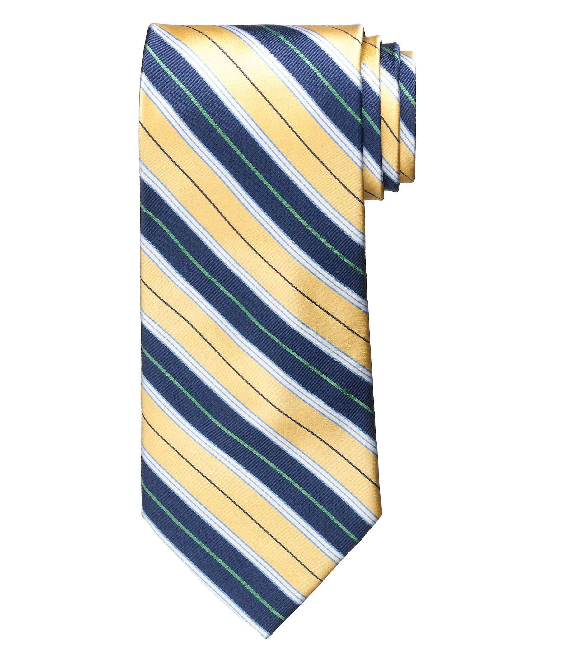 Signature Satin Multi Stripe Long Tie