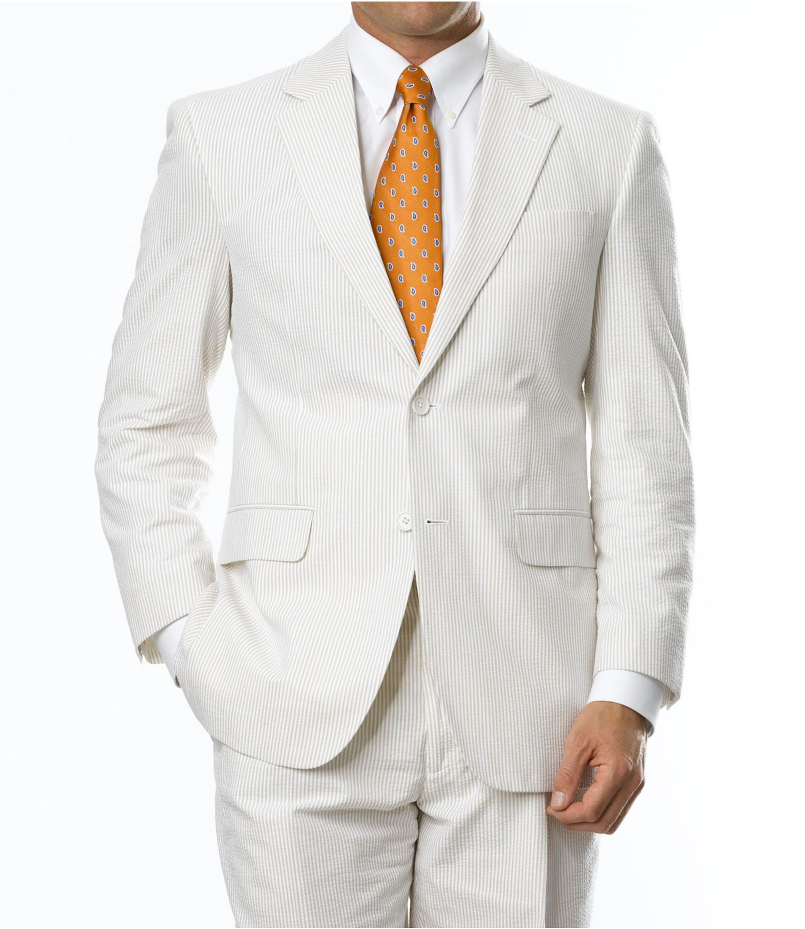 Stays Cool 2-Button Seersucker Tailored Fit Suit with Plain Front