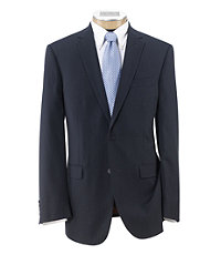 Joseph Slim Fit 2-Button Suits with Plain Front Trousers Extended Sizes- Blue Tonal Narrow Stripe