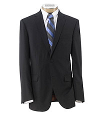 Joseph Slim Fit 2-Button Suits with Plain Front Trousers Extended Sizes- Black Thin Stripe