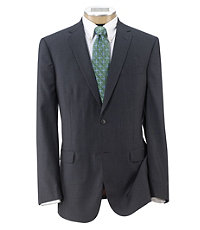Joseph Slim Fit 2 Button Plain Front Wool Suit - Extended Sizes- Grey/Blue Plaid