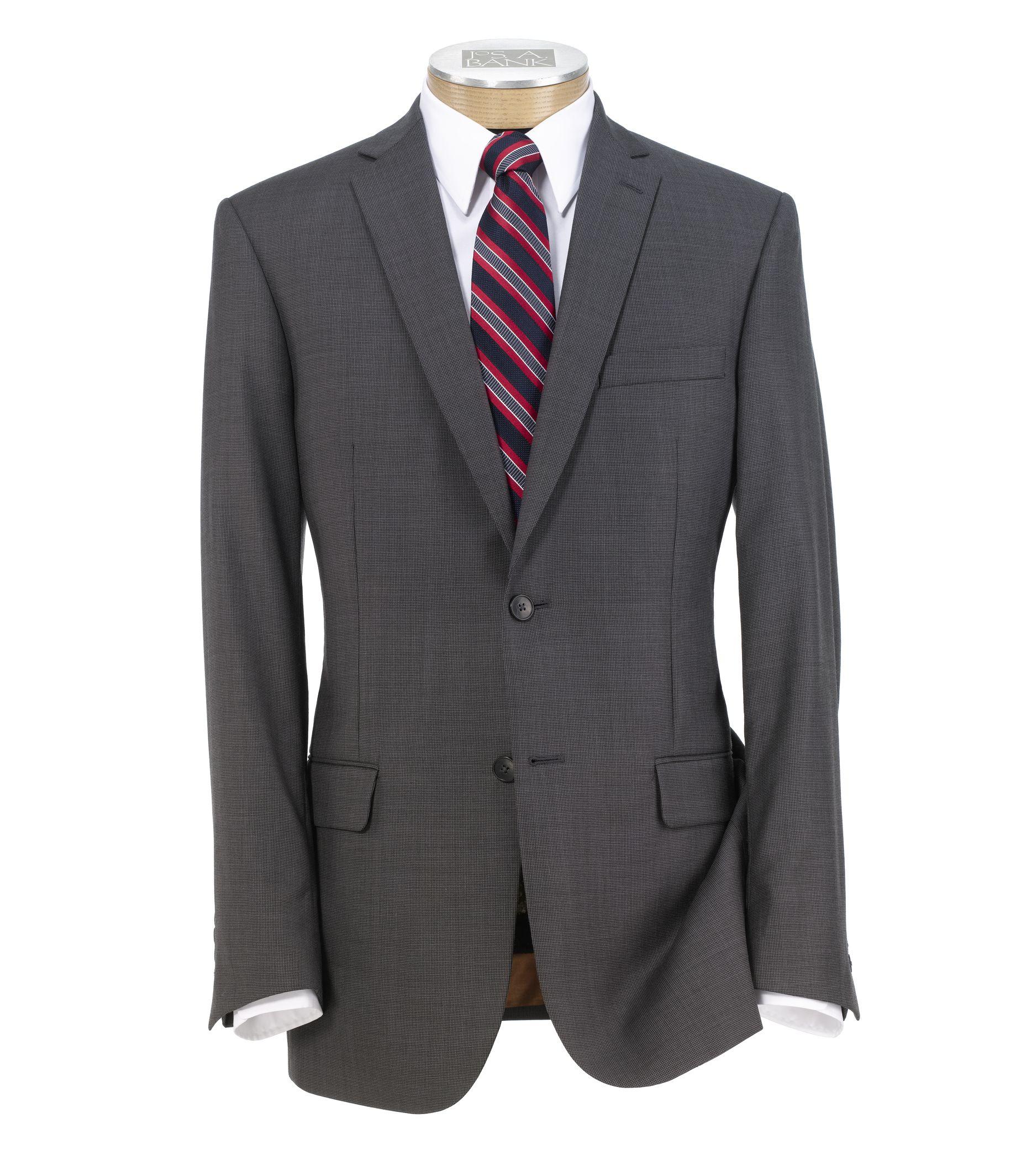 Joseph Slim Fit 2 Button Plain Front Wool Suit- Grey Mini Houndstoot