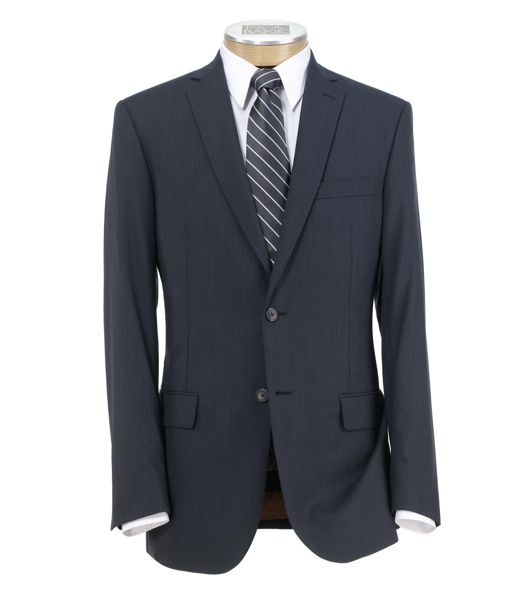Joseph Slim Fit 2 Button Plain Front Wool Suit- Navy Mini Grid Checkered