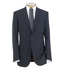 Joseph Slim Fit 2 Button Plain Front Wool Suit- Navy Mini Grid Checkered