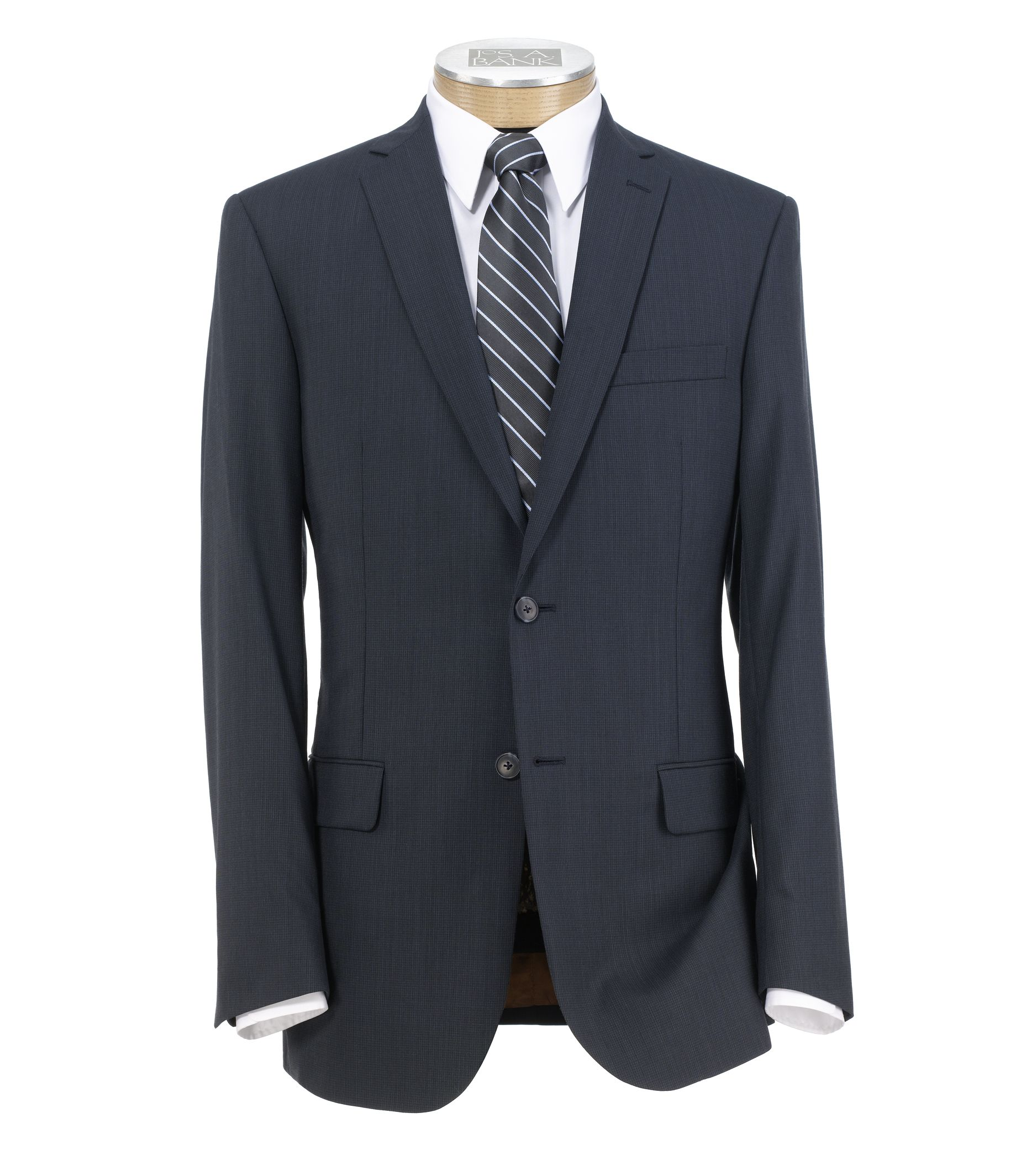 Joseph Slim Fit 2 Button Plain Front Wool Suit - Extended Sizes- Navy Mini Grid Checkered