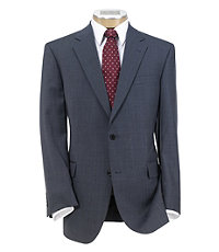Signature Shark Windowpane Suit with Plain Front Trousers- Light Blue Herringbone
