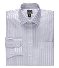 Traveler Tailored Fit End-on-End Stripe Spread Colllar Dress Shirt