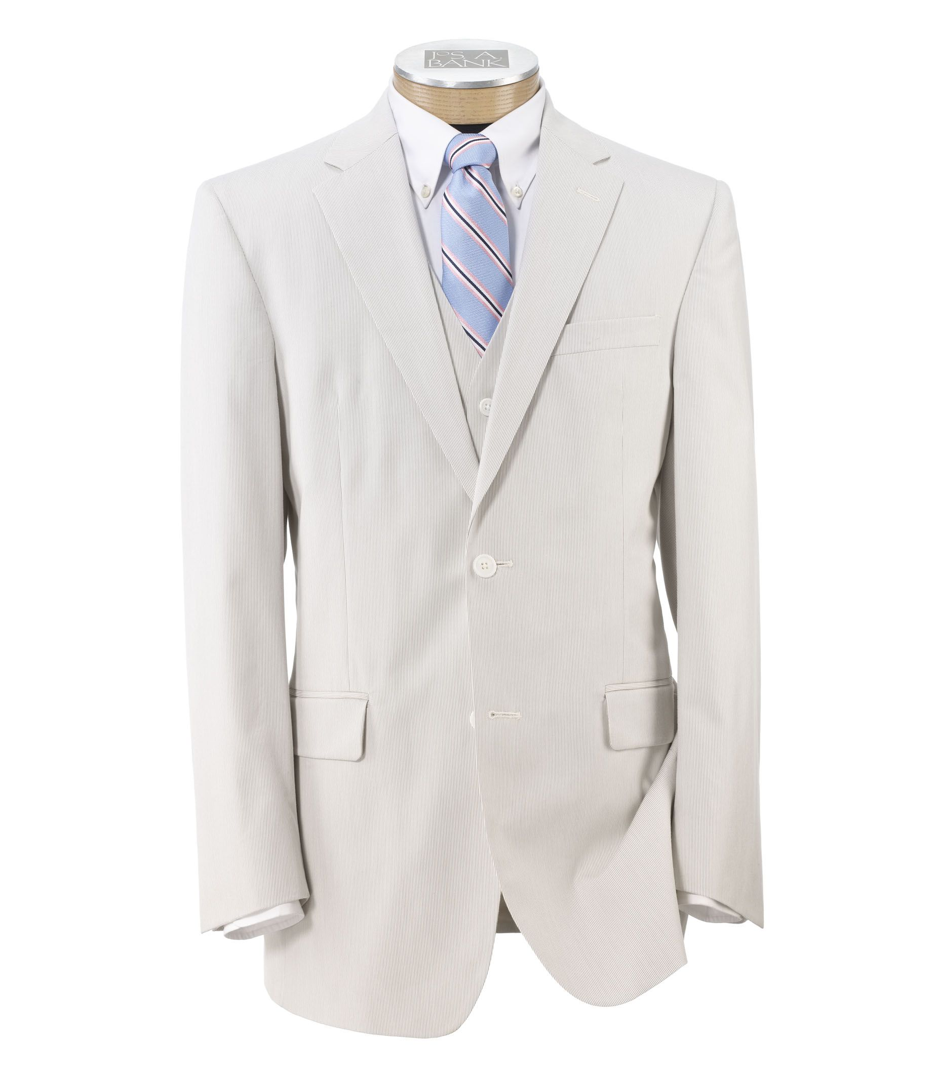 Tailored Fit Tropical Blend 2 Button Suit Vested with Plain Front Trousers £65.17 AT vintagedancer.com