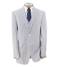 Tailored Fit Tropical Blend 2-Button Plain Front Vested Suit- Extended Sizes