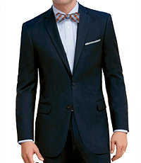 Traveler Slim Fit 2-Button Suits with Plain Front Trousers- Blue Sharkskin
