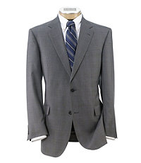 Signature Fashion Suit with Pleated Trousers- Light Grey Plaid w Blue