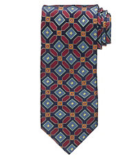 Signature Gold Allover Geometric Squares Long Tie