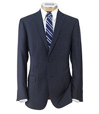 Joseph Slim Fit 2-Button Suits with Plain Front Trousers- Medium Blue Faille