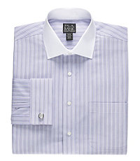 Traveler Spread Collar Stripe Dress Shirt French Cuff Big and Tall Sizes