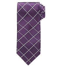 Executive Large White Grid Long Tie