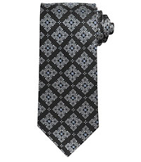Signature Medallion on Textured Ground Long Tie