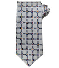 Signature Satin Grid Long Tie