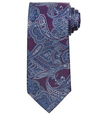 Signature Larger Paisley on Textured Ground Long Tie