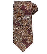 Signature Textured Paisley Long Tie