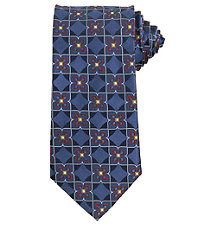 Signature Large Floral Grid Long Tie