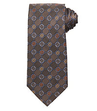 Signature Allover Grid on Textured Ground Long Tie