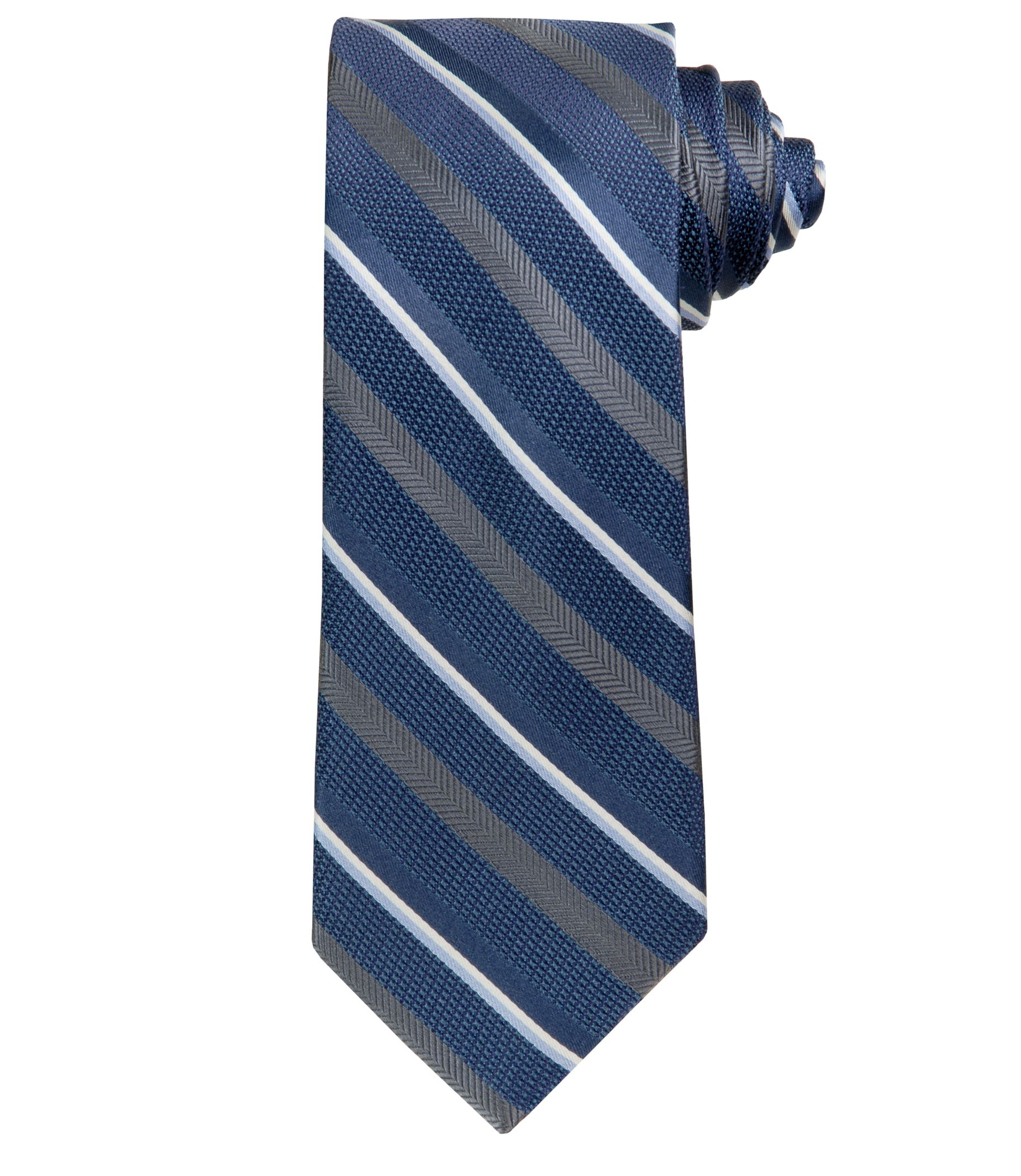 Joseph Herringbone Stripe Textured Ground Tie