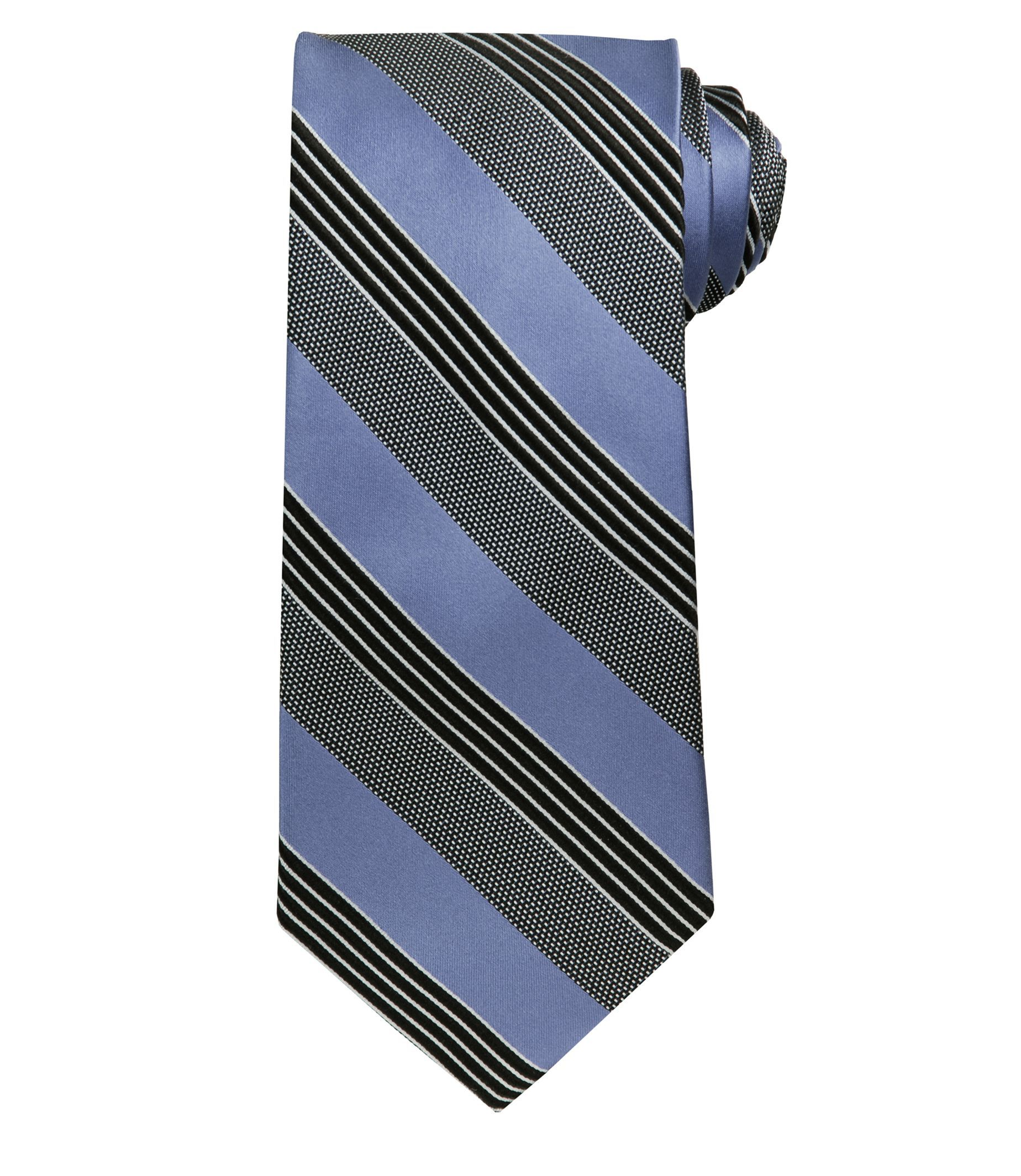 Signature Dotted Stripe Extra Long Tie