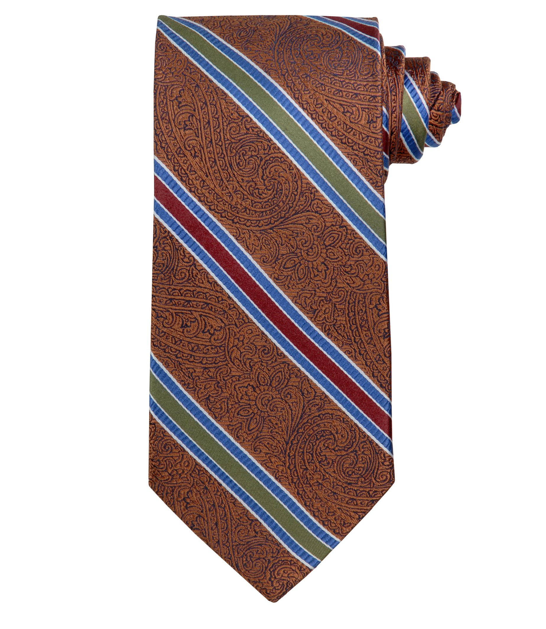 Signature Gold Tapestry with Multi Stripes Tie