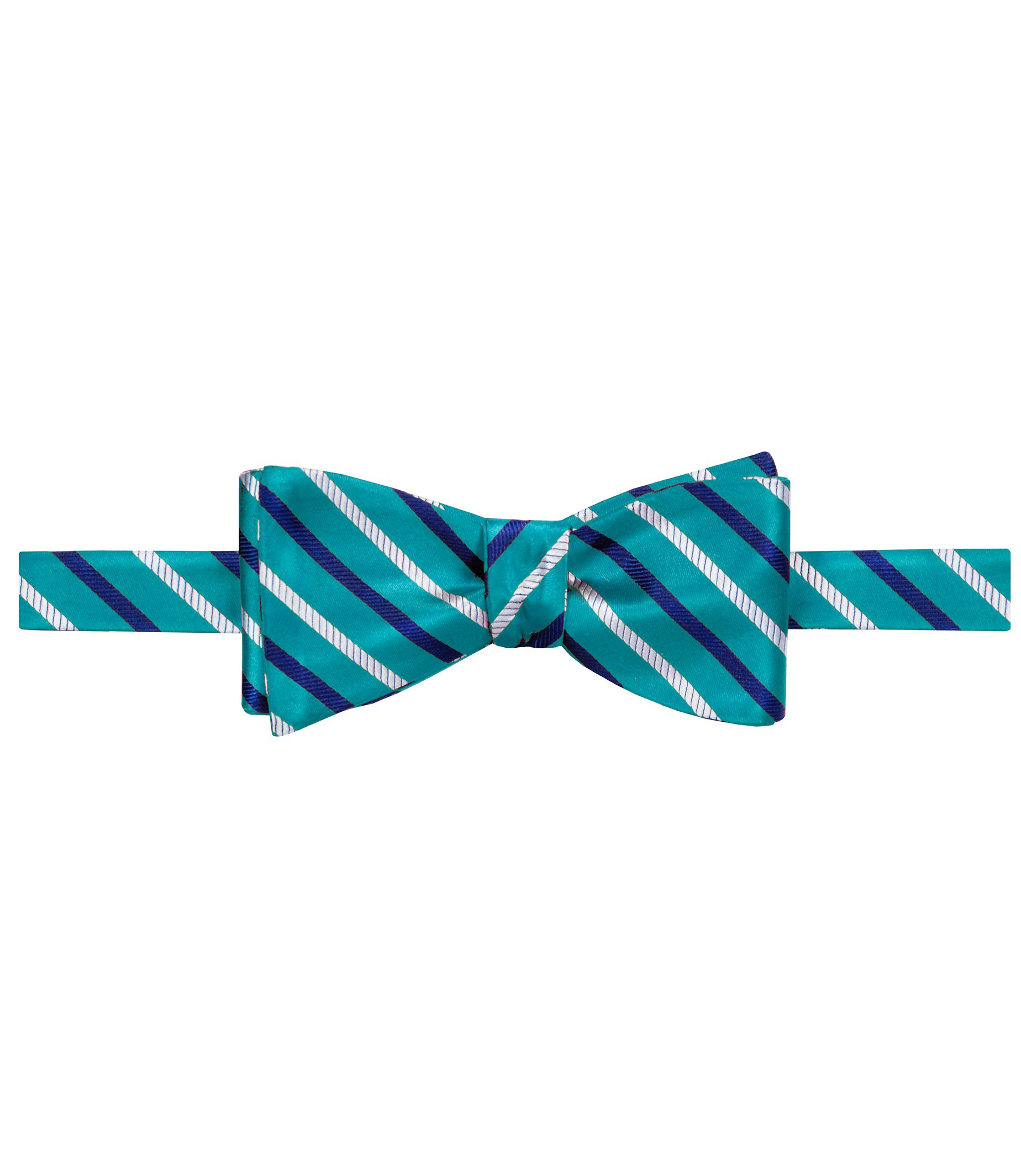 Executive Satin with Navy/White Alternating Stripes Bowtie