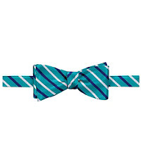 Executive Satin with Navy/White Alternating Stripes Bow Tie
