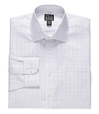 Traveler Tailored Fit Spread Collar Plaid Dress Shirt