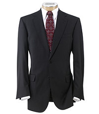 Signature Gold 2-Button 150's Wool Pleated Suit   Extended Size- Black