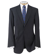Signature Gold 2-Button 150's Wool Pleated Suit   Extended Size- Charcoal