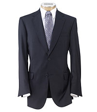 Signature Gold 2-Button 150's Wool Pleated Suit   Extended Size- Navy