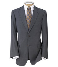 Signature Gold 2-Button 150's Wool Pleated Suit   Extended Size- Cambridge Grey