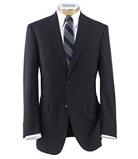 Traveler Tailored Fit 2-Button Suits Plain Front Trousers- Black Plain Weave Blue