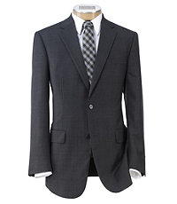 Traveler Tailored Fit 2-Button Suits Plain Front Trousers - Extended Sizes- Oxford Self Plaid